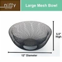Nifty Large Black Decorative Mesh Bowl – Modern Metal Fruit Basket - Each