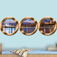3D Window View Wall Sticker, London Skyline Cityscape Decal - Porthole Vinyl Stickers -SPW22 - 1