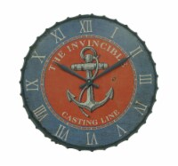Blue and Orange Nautical Anchor 23 inch Bottle Cap Wall Clock - Small
