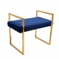 Navy/Gold Velveteen Bench W/ Handles - 1