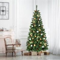 Costway 7 ft Premium Hinged Artificial Christmas Tree Mix ed Pine Needles w/ Pine Cones