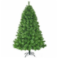 Costway 7 ft Hinged Artificial Christmas Tree Holiday Decoration w/ Foldable Metal Stand - 1 unit