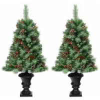 Costway Set of 2 Christmas Entrance Tree 4ft w/Pine Cones Red Berries & Glitter Branches