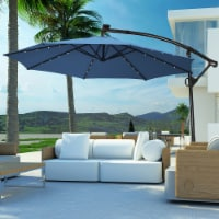 Costway 10FT Patio Offset Umbrella Solar Powered LED 360Degree Rotation Aluminum Blue - 10 FT
