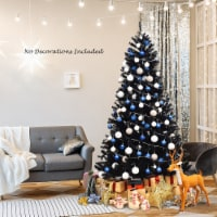 Costway 7.5Ft or 6Ft Hinged Artificial Halloween Christmas Tree Full Tree with Metal Stand - 1 unit