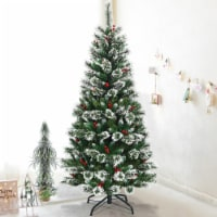 Costway 6 ft Snow Flocked Artificial Christmas Hinged Tree w/ Pine Needles & Red Berries