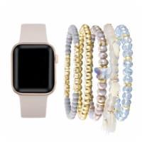 Light Pink Silicone Band & Bracelet Bundle for Apple Watch 1,2,3,4,5,6 & SE - Size 38mm/40mm - 38mm/40mm