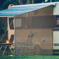 Goplus 9' x 7'RV Awning Side Shade Black Mesh Screen Sunshade with Complete Kits - 1 unit
