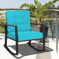 Costway Patio Rattan Rocker Chair Outdoor Glider Rocking Chair Cushion Lawn Turquoise - 1 unit