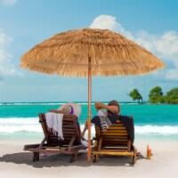 Costway 6.5 FT Thatched Beach Umbrella Tilt Tiki Hawaiian Patio Portable - 6.5 FT