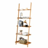 Costway 5-Tier Ladder Shelf Bamboo Bookshelf Wall-Leaning Storage Display Plant Stand