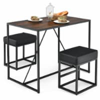 Costway 3pcs Dining Set Metal Frame Kitchen Table and 2 Stools Home Breakfast - 1 unit