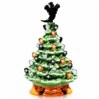 Costway 11.5'' Pre-Lit Ceramic Hand-Painted Tabletop Halloween Tree Battery Powered Green - 1 unit