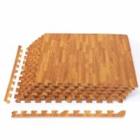 Costway 12PC Wood Grain Interlocking Floor Mats 3/8 Inch Printed Foam Tiles 24 x 24 Inch