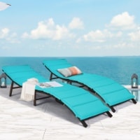 Costway 2PCS Patio Rattan Folding Lounge Chair Chaise Double Sided Cushion Turquoise - 1 unit