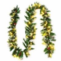 Costway 9ft Pre-lit Christmas Garland w/ Snow Flocked Tips Red Berries 50 Lights & Timer