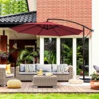 Costway 10FT Patio Offset Hanging Umbrella Easy Tilt Adjustment 8 Ribs Backyard Burgundy - 10 FT