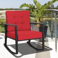 Costway Patio Rattan Rocker Chair Outdoor Glider Wicker Rocking Chair Cushion Lawn Red - 1 unit