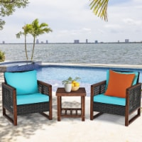 Costway 3PCS Patio Wicker Furniture Set Wooden Frame Cushion Sofa Turquoise\Navy - 1 unit