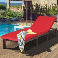 Costway Outdoor Rattan Lounge Chair Chaise Recliner Adjustable Cushioned Patio Yard Red
