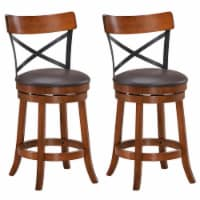Costway Set of 2 Bar Stools Swivel 25'' Dining Bar Chairs with Rubber Wood Legs - 1 unit