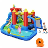 Costway Inflatable Bouncer Water Climb Slide Bounce House Splash Pool w/ Blower - 1 unit
