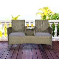 Costway 2-Person Patio Rattan Conversation Furniture Set Loveseat Coffee Table