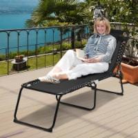 Costway Folding Beach Lounge Chair Heightening Design Patio Lounger w/ Pillow-Black - 74''x62''x15.5''