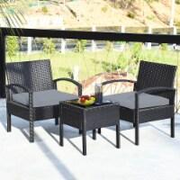 Costway 3PC Patio Rattan Furniture Set Coffee Table Conversation Sofa Cushioned Gray - 1 unit