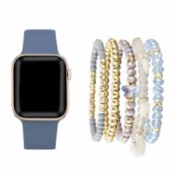 Blue Silicone Band & Bracelet Bundle for Apple Watch Series 1,2,3,4,5,6 & SE - Size 42mm/44mm - 42mm/44mm