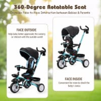Costway 6-In-1 Kids Baby Stroller Tricycle Detachable Learning Toy Bike w/ Canopy - 1 unit