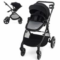 Babyjoy Foldable High Landscape Baby Stroller w/ Reversible Reclining Seat Gray\\Black - 1 unit