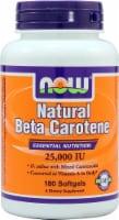 NOW Foods Natural Beta Carotene Dietary Supplement Softgels 25000IU - 180 ct