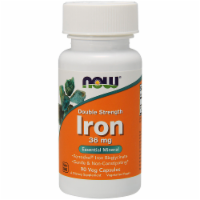NOW Foods Double Strength Iron Essential Mineral Dietary Supplement Veg Capsules 36mg