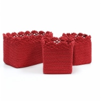Heritage Lace MC-1050RR Mode Crochet Basket with Crochet Trim, Set of 3 - Ruby Red