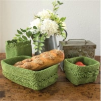 Heritage Lace MC-1050SG Mode Crochet Basket with Trim, Sage - Set of 3