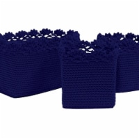 Heritage Lace MC-1050NV Mode Crochet Basket with Trim - Set of 3