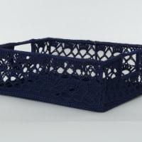 Heritage Lace MC-1120NV Mode Crochet Basket, Navy - 12 x 9 x 5 in.