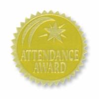 Gold Foil Embossed Seals, Attendance Award, 54 Per Pack - 1