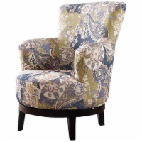 Nathaniel Home Zoey Fabric Upholstered Flower Patterned Swivel Accent Chair - 1