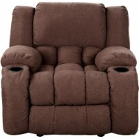 Nathaniel Home Lyla Plush Microfiber Upholstered Recliner in Chocolate - 1