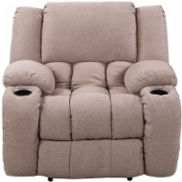 Nathaniel Home Lyla Plush Microfiber Upholstered Recliner in Mocha - 1