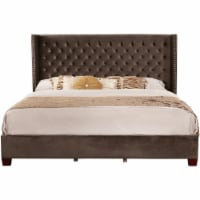 Nathaniel Home Aliyah Faux Velvet Button Tufted King Panel Bed in Brown - 1