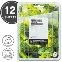 FARMSKIN 12 Sheets Refreshing Broccoli Facial Sheet Masks (Superfood)