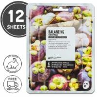 FARMSKIN 12 Sheets Balancing Mangosteen Facial Sheet Masks (Superfood)