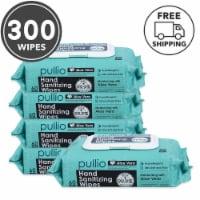 pullio 5PK Hypoallergenic Hand Wipes - Aloe Alcohol Free Hand Sanitizer(300 Wet Wipes) - 300 Wipes ( 5 Packs)
