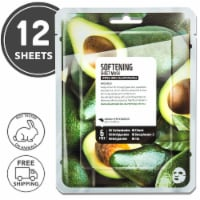 FARMSKIN 12 Sheets Softening Avocado Facial Sheet Masks (Superfood)
