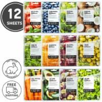 FARMSKIN 12 Sheets Assorted Facial Sheet Masks (Superfood)