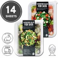FARMSKIN 14 Sheets [Avocado+Tomato] Facial Sheet Mask Sets (Superfood)