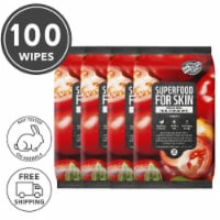 FARMSKIN 4 Packs Revitalizing Tomato Facial Cleansing Wipes (Superfood)